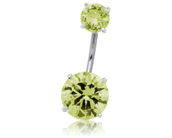Piercing nombril strass citron