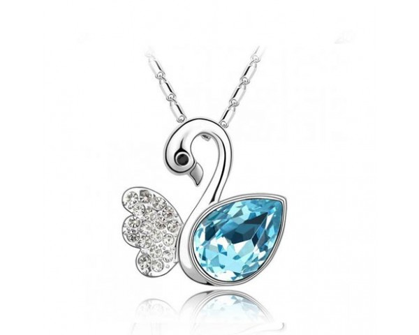 Collier cygne aquamarine