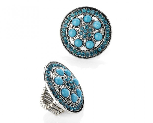 Bague ronde pierre turquoise