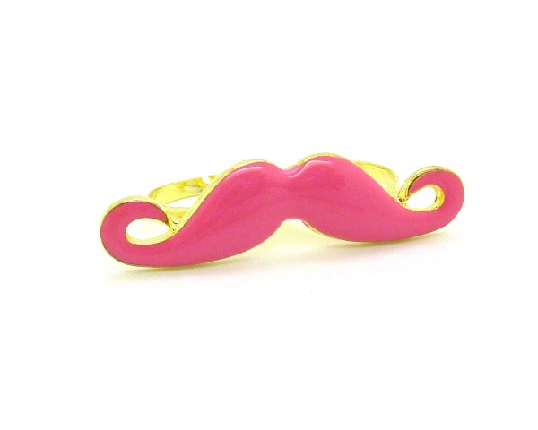 Bague moustache double rose