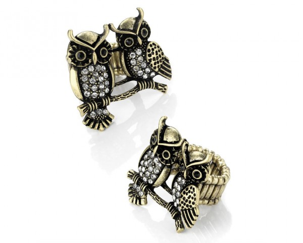 Bague chouette twin bronze