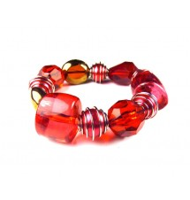 Bracelet glass stone rouge