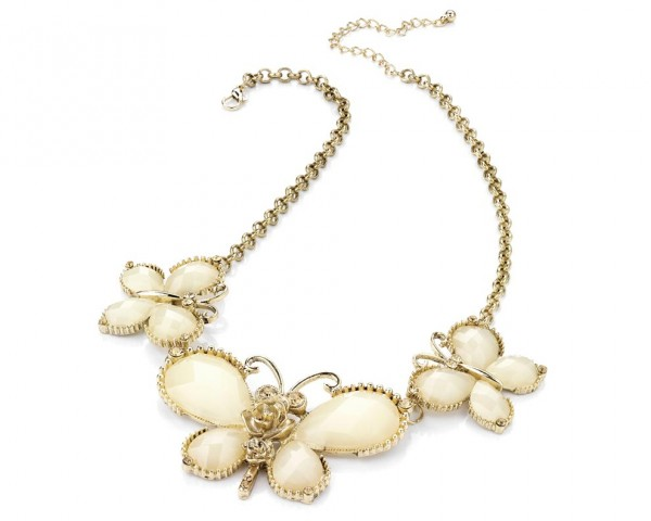 Collier papillon cristaux blanc