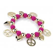 Bracelet peace and love rose