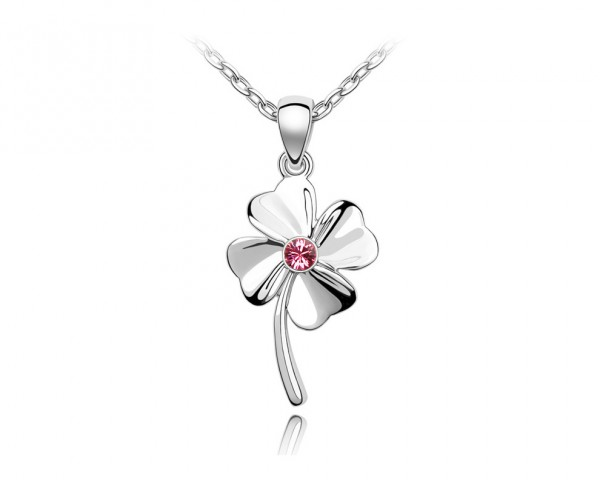 Collier trèfle rose