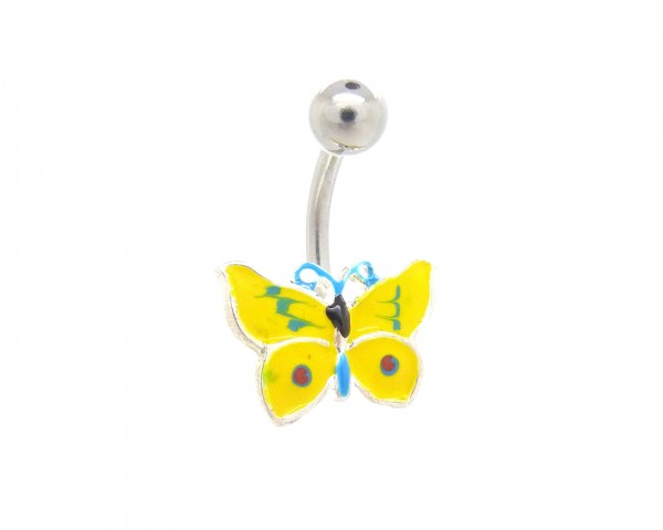 Piercing nombril émail jaune