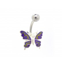 Piercing nombril émail violet