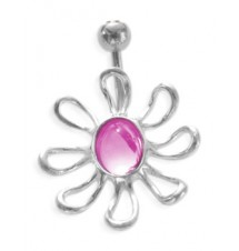 Piercing nombril fleur strass rose