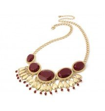 Collier plastron rouge and gold