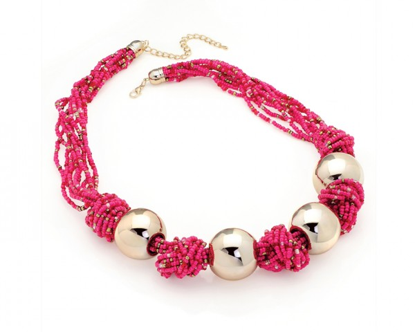 Collier perles rose fushia