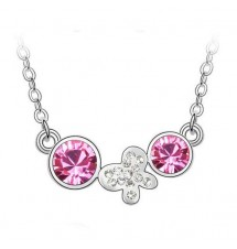 Collier butterfly pierre rose