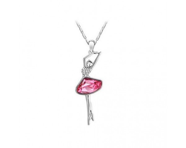 Collier ballerine pierre rose