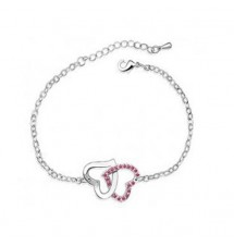 Bracelet double cœurs pierres rose