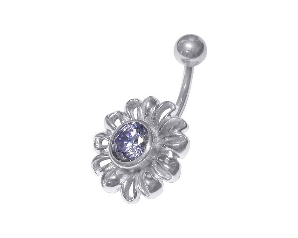 Piercing nombril cristal flower blue