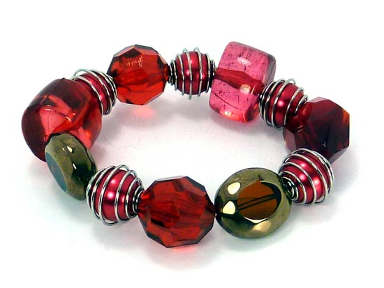 Bracelet glass stone red
