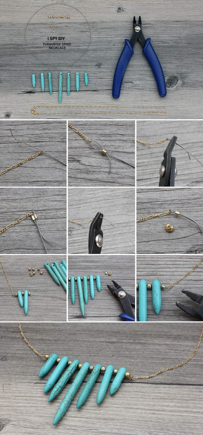 DIY collier pierres turquoise